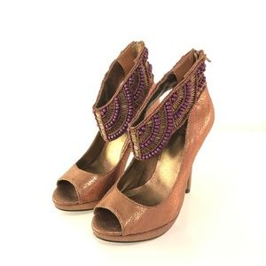 BAKERS Beaded Ankle Strap Heels  SIZE 5